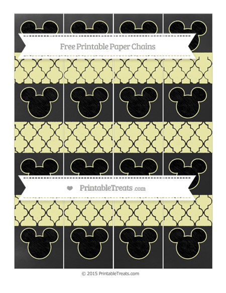 Free Pastel Light Yellow Moroccan Tile Chalk Style Mickey Mouse Paper Chains