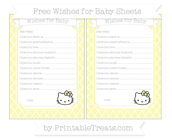 Free Pastel Light Yellow Moroccan Tile Hello Kitty Wishes for Baby Sheets