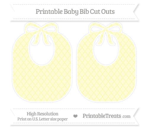 Free Pastel Light Yellow Moroccan Tile Large Baby Bib Cut Outs