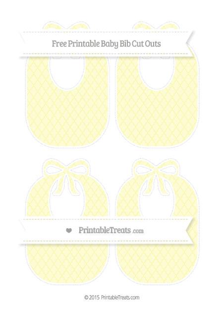 Free Pastel Light Yellow Moroccan Tile Medium Baby Bib Cut Outs