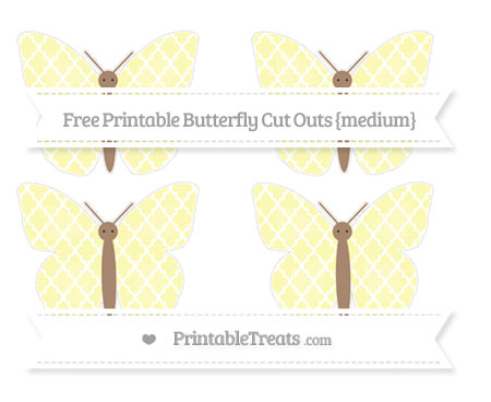 Free Pastel Light Yellow Moroccan Tile Medium Butterfly Cut Outs