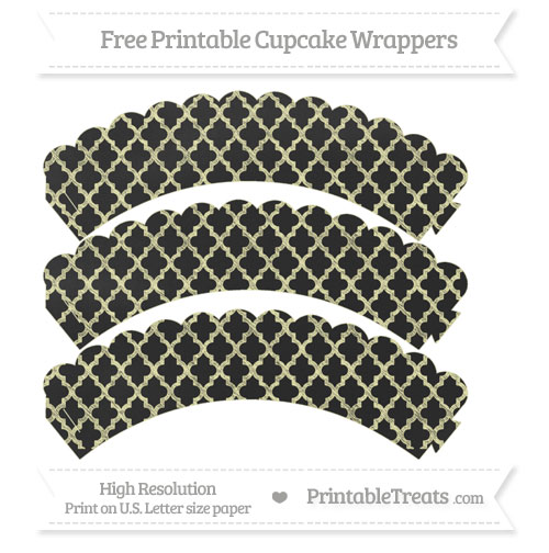 Free Pastel Light Yellow Moroccan Tile Pattern Chalk Style Scalloped Cupcake Wrappers