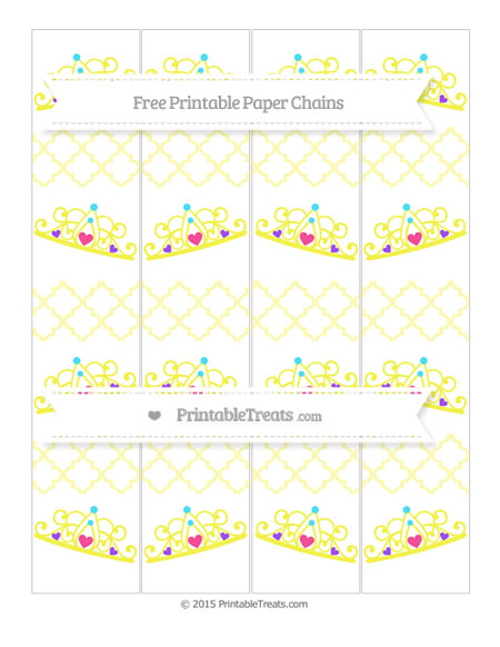 Free Pastel Light Yellow Moroccan Tile Princess Tiara Paper Chains