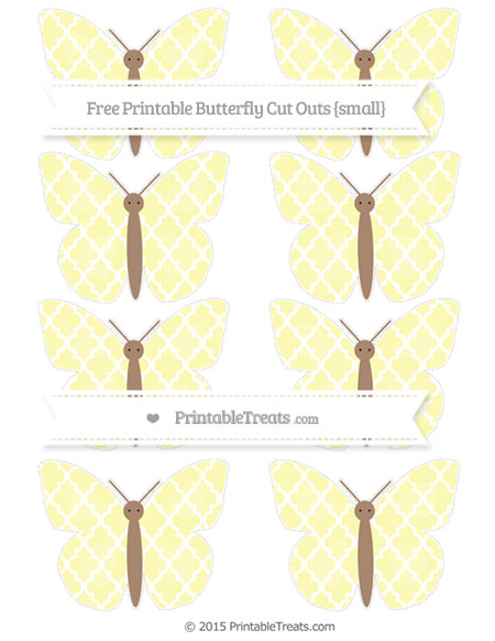 Free Pastel Light Yellow Moroccan Tile Small Butterfly Cut Outs