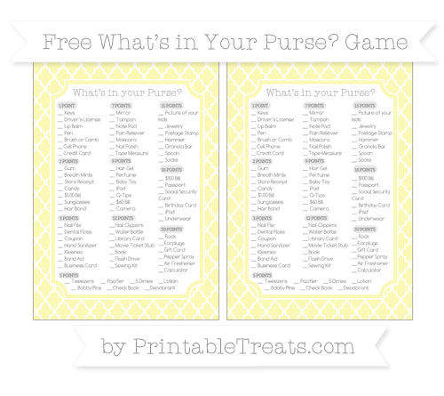 Free Pastel Light Yellow Moroccan Tile What's in Your Purse Baby Shower Game