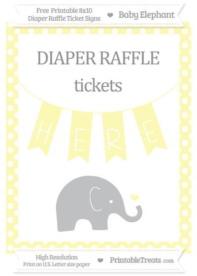 Free Pastel Light Yellow Polka Dot Baby Elephant 8x10 Diaper Raffle Ticket Sign