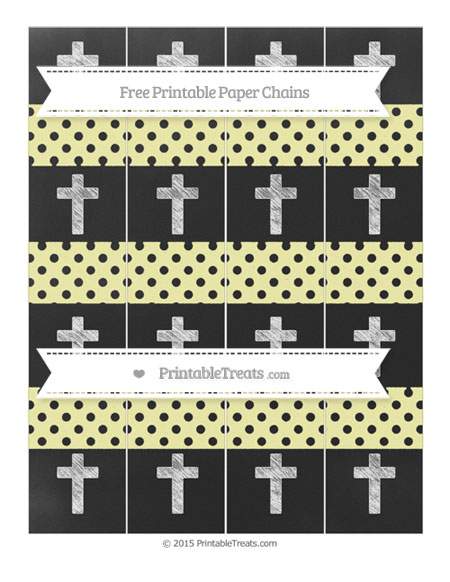 Free Pastel Light Yellow Polka Dot Chalk Style Cross Paper Chains