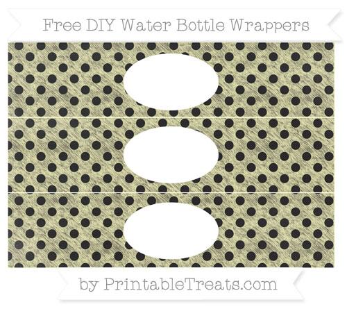 Free Pastel Light Yellow Polka Dot Chalk Style DIY Water Bottle Wrappers