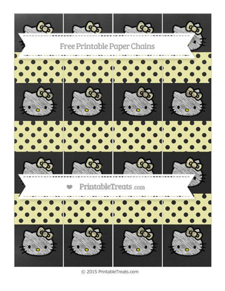 Free Pastel Light Yellow Polka Dot Chalk Style Hello Kitty Paper Chains