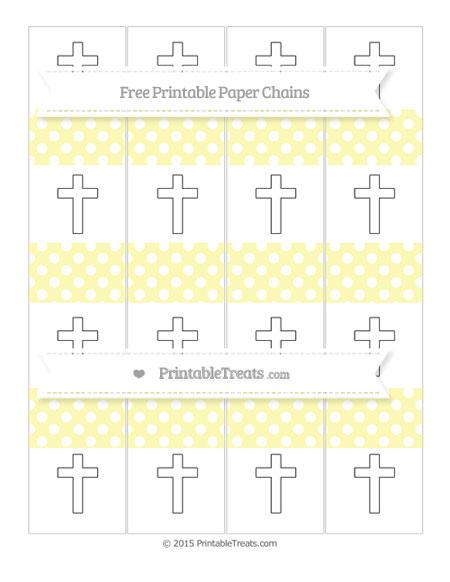 Free Pastel Light Yellow Polka Dot Cross Paper Chains