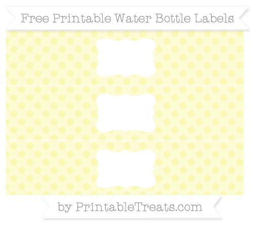 Free Pastel Light Yellow Polka Dot Water Bottle Labels