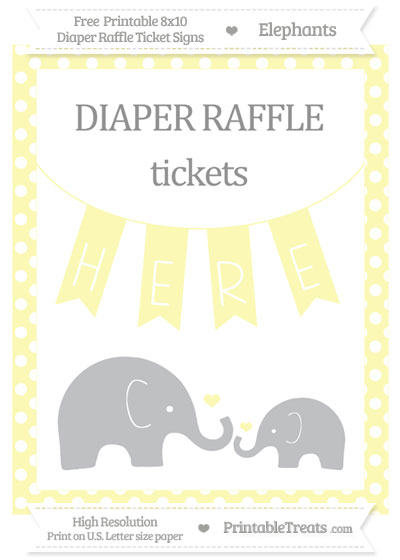 Free Pastel Light Yellow Polka Dot Elephant 8x10 Diaper Raffle Ticket Sign