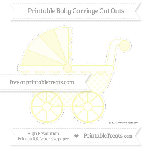 Free Pastel Light Yellow Polka Dot Extra Large Baby Carriage Cut Outs