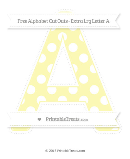 Free Pastel Light Yellow Polka Dot Extra Large Capital Letter A Cut Outs