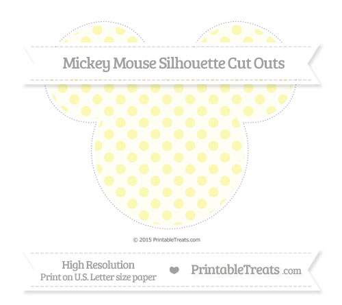Free Pastel Light Yellow Polka Dot Extra Large Mickey Mouse Silhouette Cut Outs