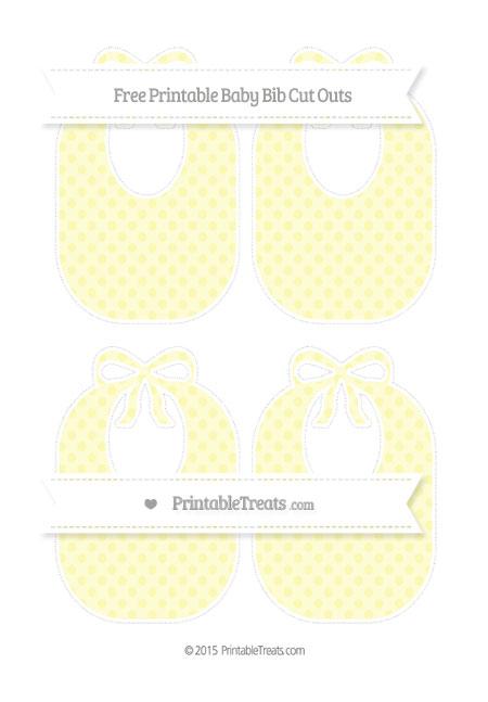 Free Pastel Light Yellow Polka Dot Medium Baby Bib Cut Outs