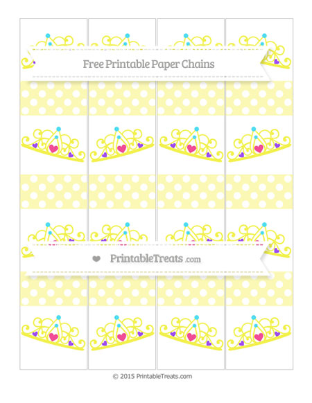 Free Pastel Light Yellow Polka Dot Princess Tiara Paper Chains