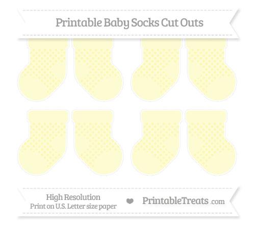 Free Pastel Light Yellow Polka Dot Small Baby Socks Cut Outs