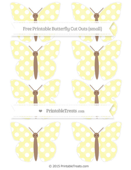 Free Pastel Light Yellow Polka Dot Small Butterfly Cut Outs