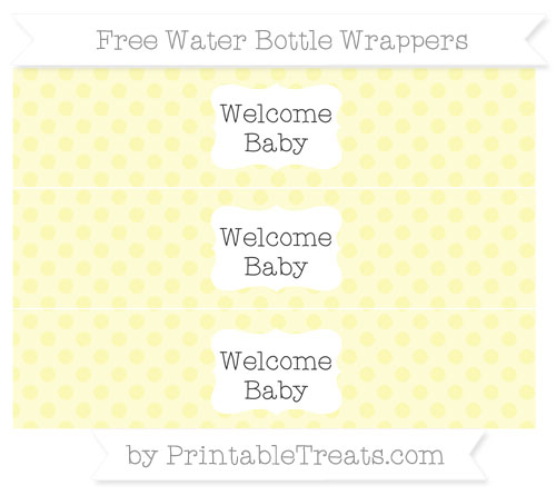 Free Pastel Light Yellow Polka Dot Welcome Baby Water Bottle Wrappers