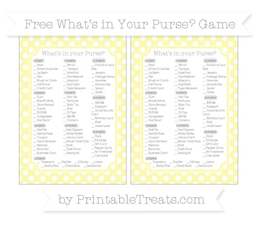 Free Pastel Light Yellow Polka Dot What's in Your Purse Baby Shower Game