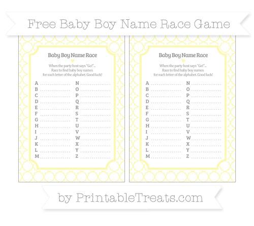Free Pastel Light Yellow Quatrefoil Pattern Baby Boy Name Race Game