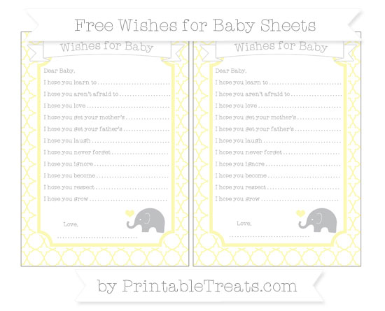 Free Pastel Light Yellow Quatrefoil Pattern Baby Elephant Wishes for Baby Sheets