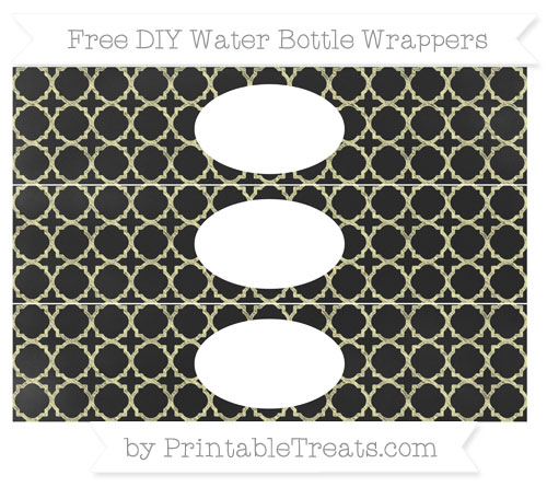 Free Pastel Light Yellow Quatrefoil Pattern Chalk Style DIY Water Bottle Wrappers
