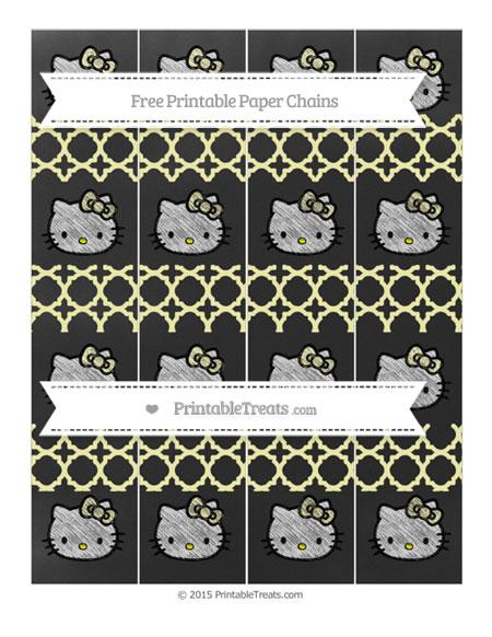 Free Pastel Light Yellow Quatrefoil Pattern Chalk Style Hello Kitty Paper Chains