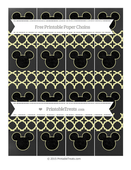 Free Pastel Light Yellow Quatrefoil Pattern Chalk Style Mickey Mouse Paper Chains