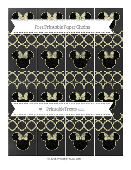 Free Pastel Light Yellow Quatrefoil Pattern Chalk Style Minnie Mouse Paper Chains