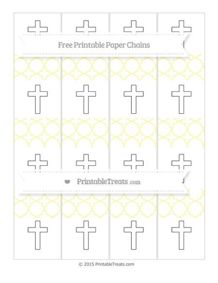 Free Pastel Light Yellow Quatrefoil Pattern Cross Paper Chains