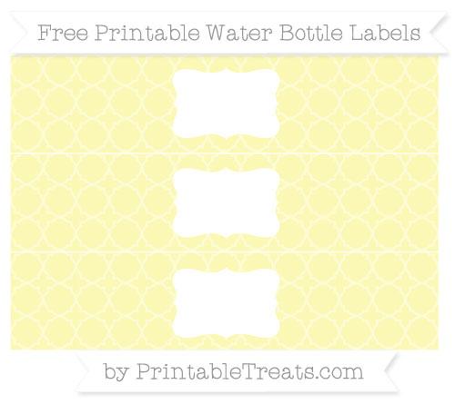 Free Pastel Light Yellow Quatrefoil Pattern Water Bottle Labels