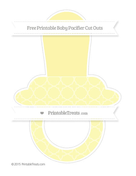 Free Pastel Light Yellow Quatrefoil Pattern Extra Large Baby Pacifier Cut Outs