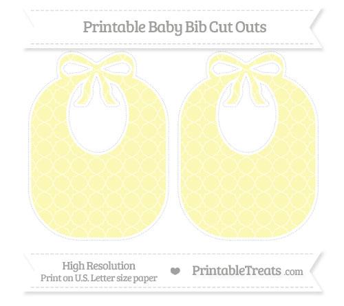 Free Pastel Light Yellow Quatrefoil Pattern Large Baby Bib Cut Outs