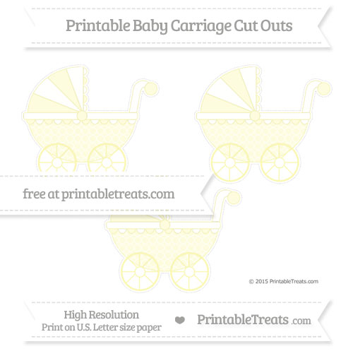 Free Pastel Light Yellow Quatrefoil Pattern Medium Baby Carriage Cut Outs