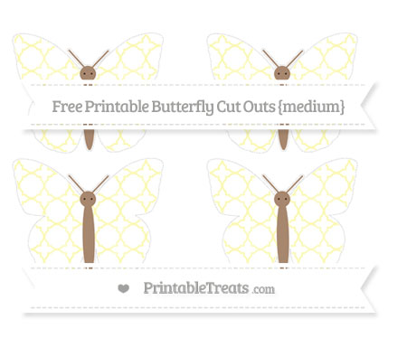 Free Pastel Light Yellow Quatrefoil Pattern Medium Butterfly Cut Outs