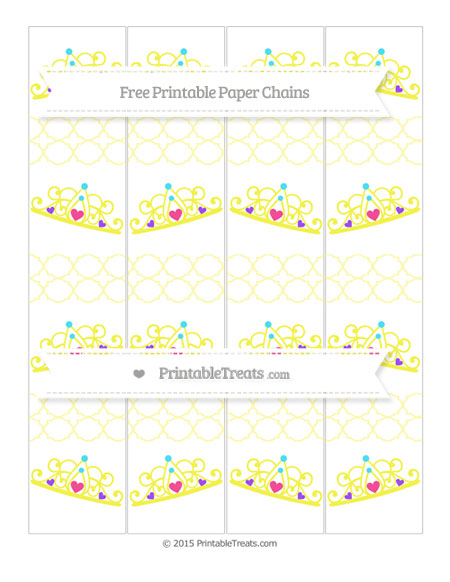 Free Pastel Light Yellow Quatrefoil Pattern Princess Tiara Paper Chains