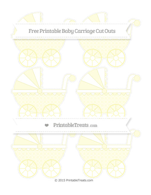 Free Pastel Light Yellow Quatrefoil Pattern Small Baby Carriage Cut Outs