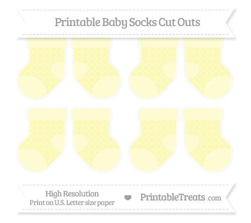 Free Pastel Light Yellow Quatrefoil Pattern Small Baby Socks Cut Outs