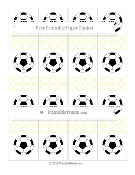 Free Pastel Light Yellow Quatrefoil Pattern Soccer Paper Chains