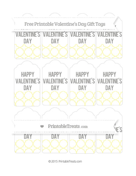 Free Pastel Light Yellow Quatrefoil Pattern Valentine's Day Gift Tags