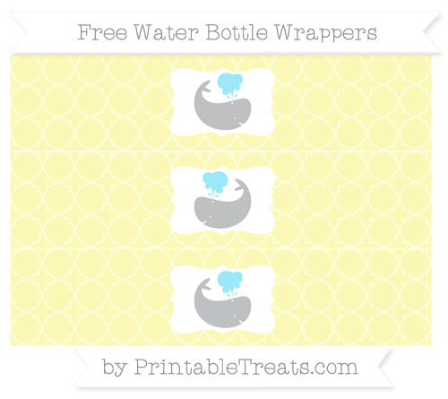 Free Pastel Light Yellow Quatrefoil Pattern Whale Water Bottle Wrappers