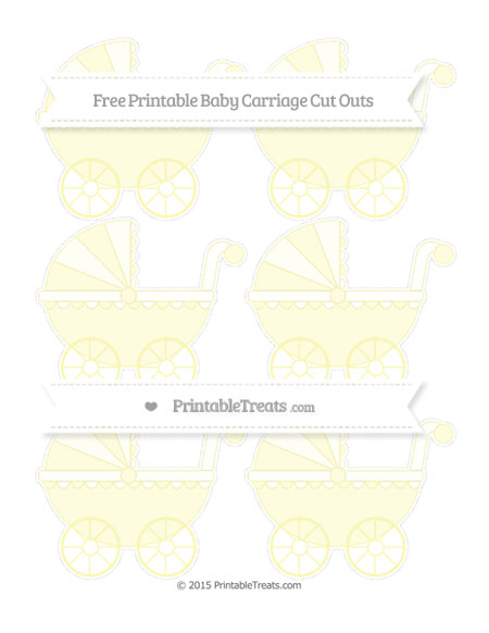 Free Pastel Light Yellow Small Baby Carriage Cut Outs