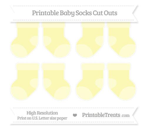 Free Pastel Light Yellow Small Baby Socks Cut Outs