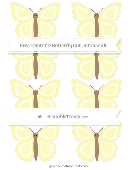 Free Pastel Light Yellow Small Butterfly Cut Outs