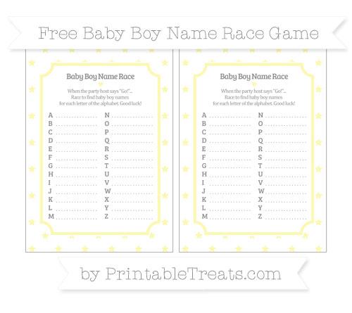 Free Pastel Light Yellow Star Pattern Baby Boy Name Race Game