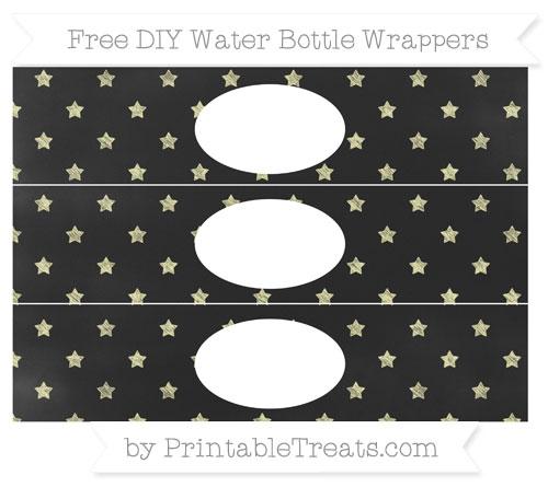 Free Pastel Light Yellow Star Pattern Chalk Style DIY Water Bottle Wrappers