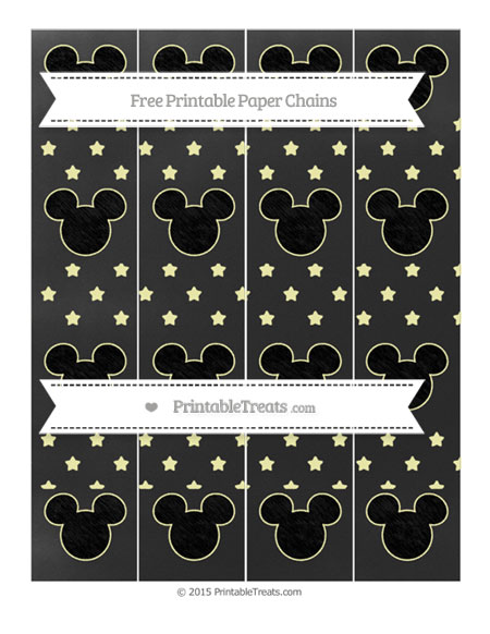 Free Pastel Light Yellow Star Pattern Chalk Style Mickey Mouse Paper Chains