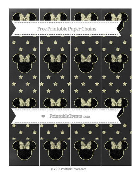 Free Pastel Light Yellow Star Pattern Chalk Style Minnie Mouse Paper Chains
